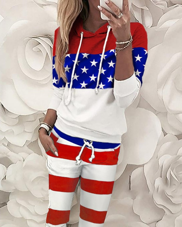 Striped Stars Print Colorblock Top & Pant Sets