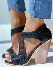 Solid Cut Out Chunky Heeled Sandals