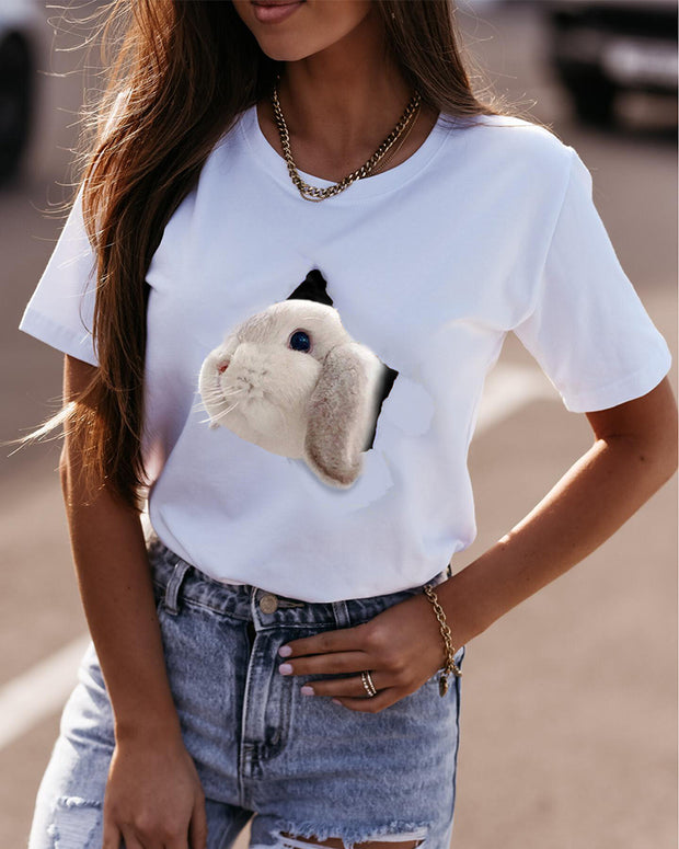 Easter 3D Rabbit Print Short Sleeve Loose T-shirts