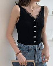 Lace Trim Button Detail Tank Top