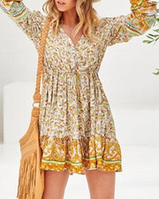 Border Print Boho Mini Dress