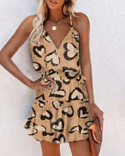 Heart Print Sleeveless Loose Mini Dress