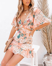 Floral Print Short Sleeve Loose Mini Dress