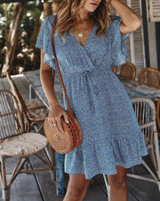 Floral V-Neck Ruffle Hem Dress