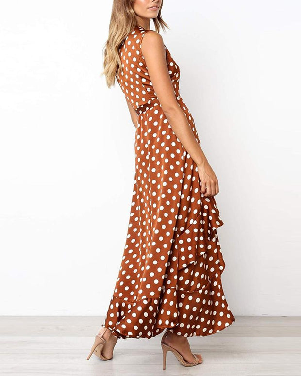 Polka Dot Asymmetric Maxi Dress
