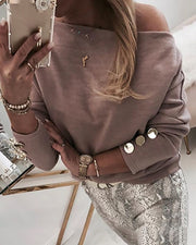 Batwing Long Sleeve Buttoned Blouse