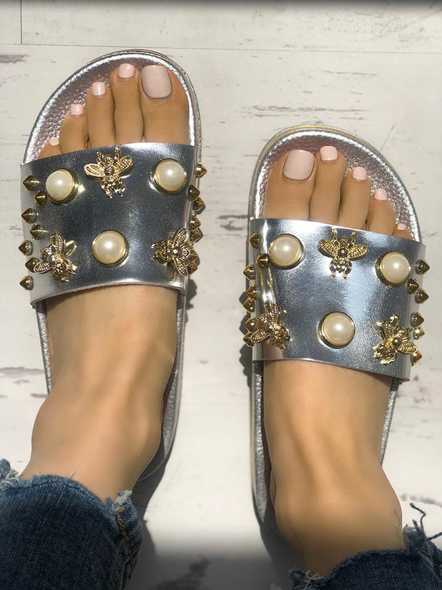 Shiny Embellished Single Strap Flat Sandals