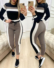 Colorblock Plaid Long Sleeve Top & Drawstring Pants Set