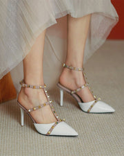 Studded T-strap Pointed-toe High Heel Sandals