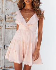 Solid Ruffles Open Back Casual Dress