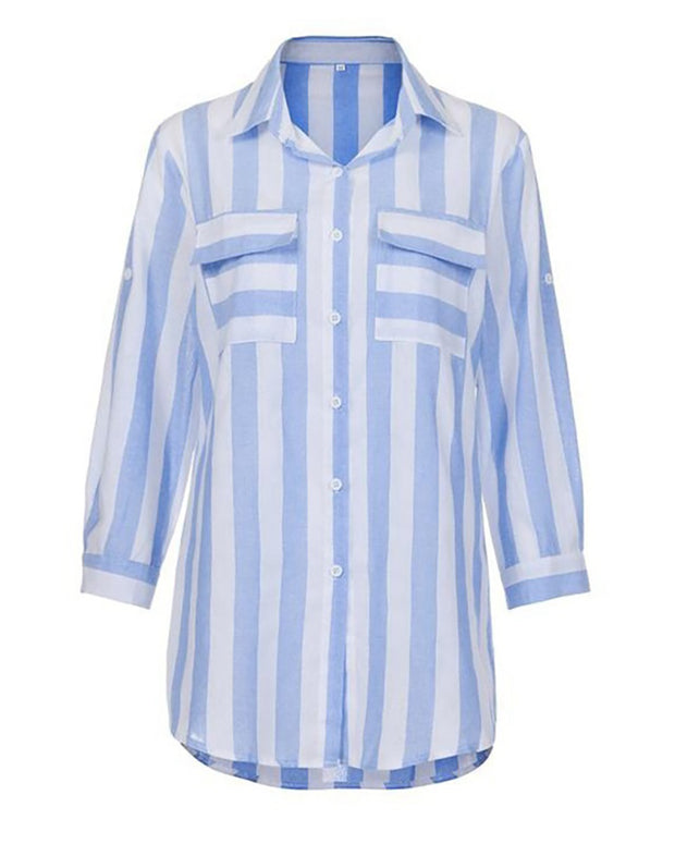 Striped Bottoned Pockets Casual Shirt