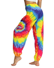 Tie Dye Print Wide Leg High Waist Pocket Yoga Pants
