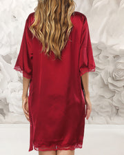 Lace Trim V-neck Knotted Robe
