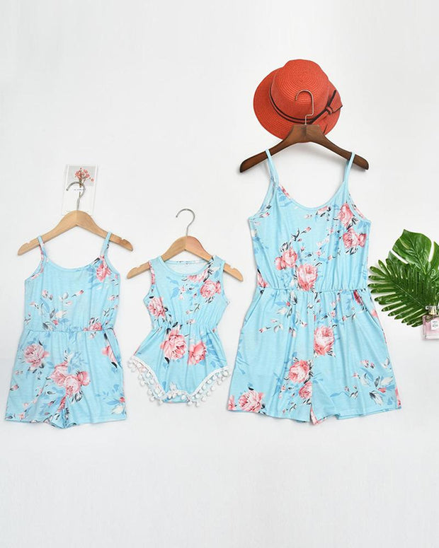 Floral Print Cami Romper For Mom