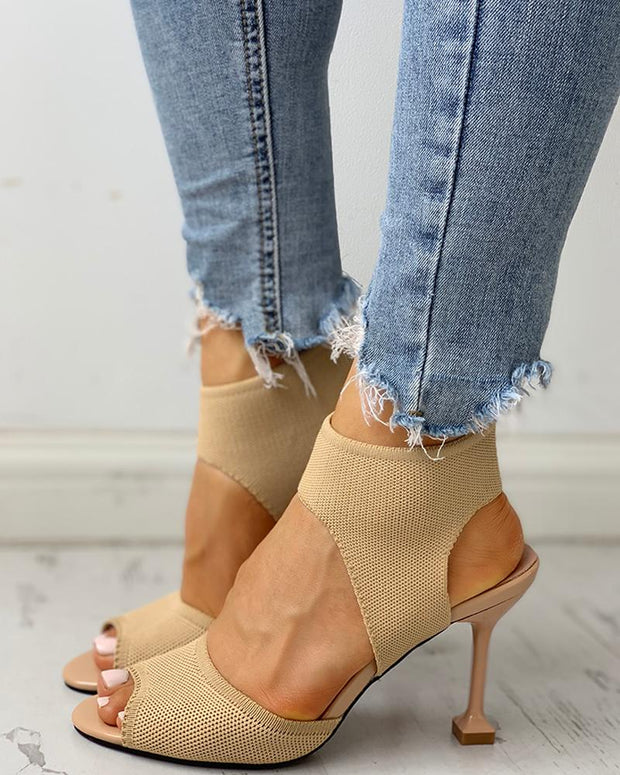 Peep Toe Knitting Cutout Thin Heels