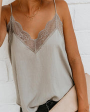 Lace Trim Casual Cami Top