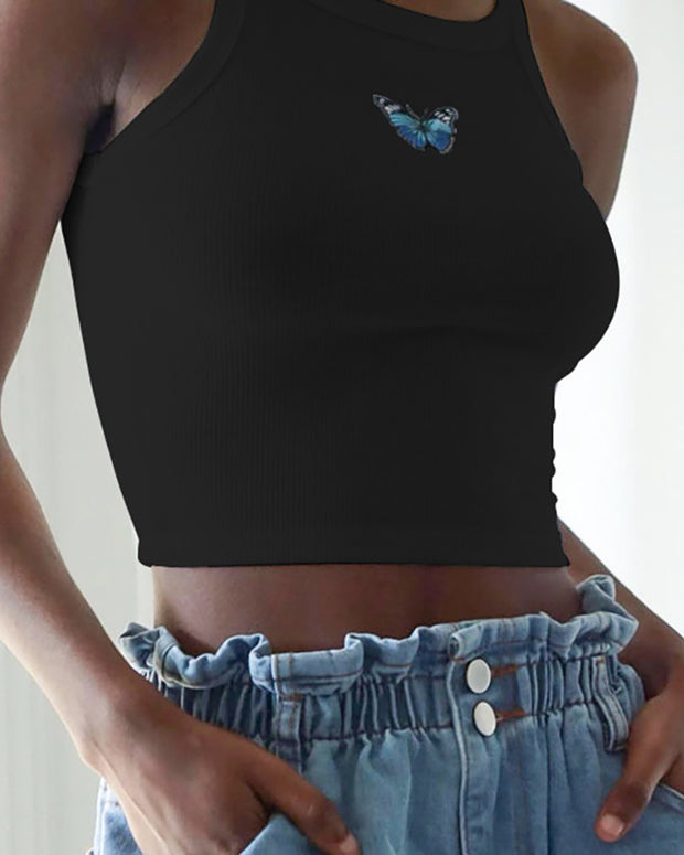 Butterfly Pattern Thick Strap Crop Top