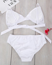 Floral Embroidery Two-Piece Bikini Set