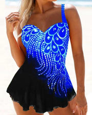 Feather Print Tankini Swimsuit