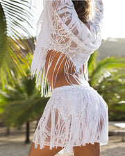 Plain Lace Fringe Design Long Sleeve Cover Up