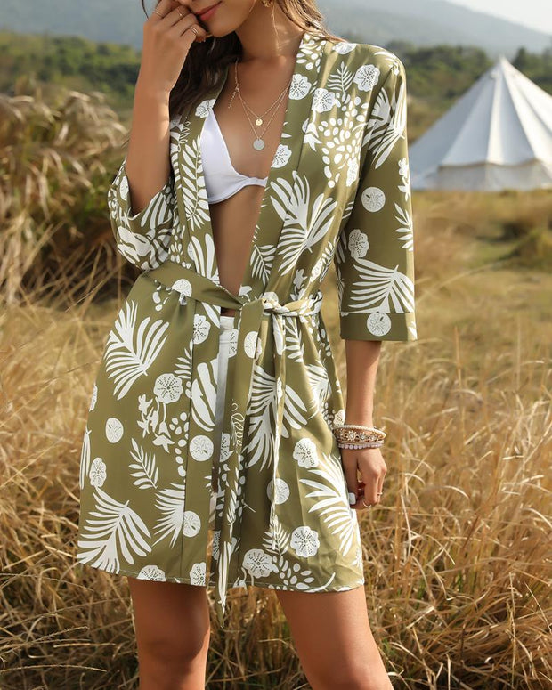 Vegetal Print Cover-Up
