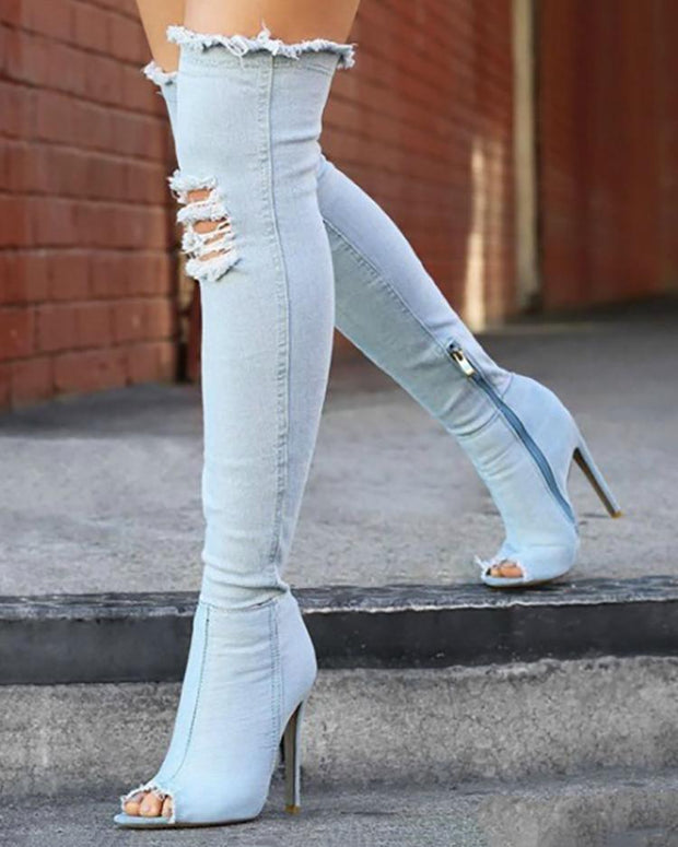 Denim Knee-High Zipper Ripped Open Toes Boots