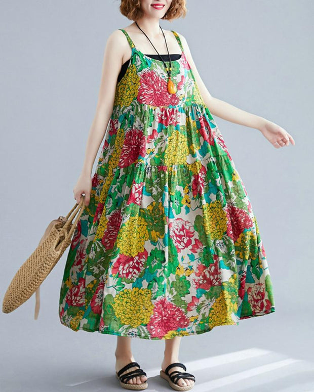 Floral Print Tiered Smock Dress