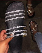 Sequin Double Strap Slide Sandals