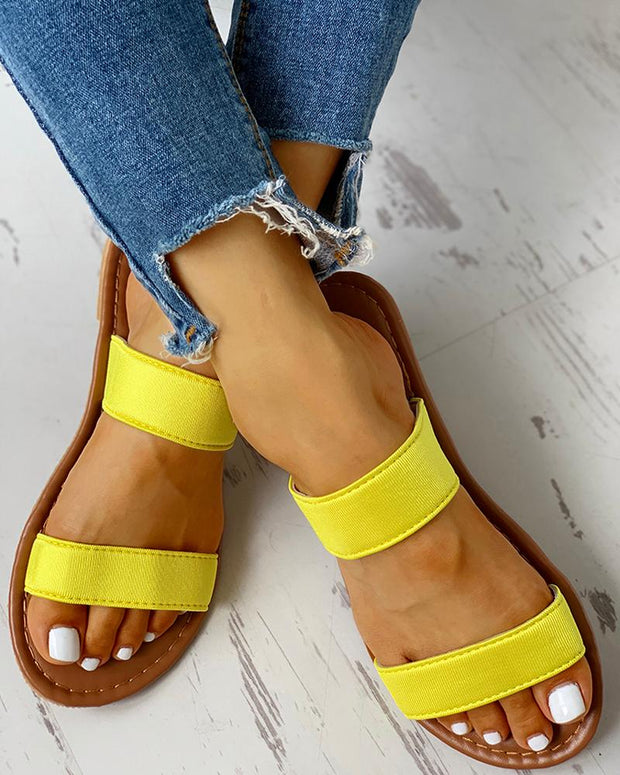 Double Strap Slipper Casual Flat Sandals