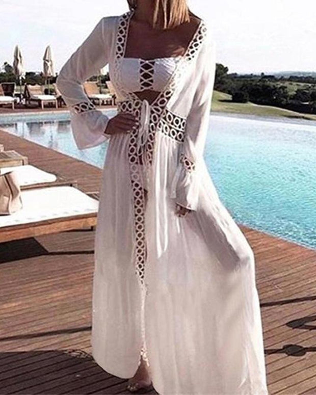Crochet Trim Beach Cover-Up