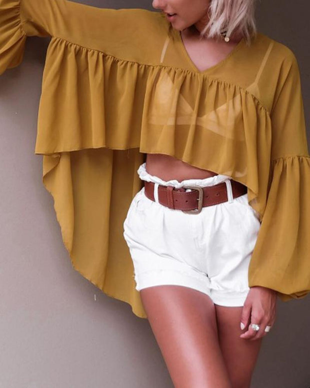 Chiffon Lantern Sleeve Cape Top