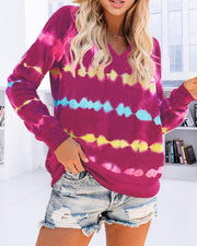 Tie Dye Gradient Long Seeve Knitted Sweaters