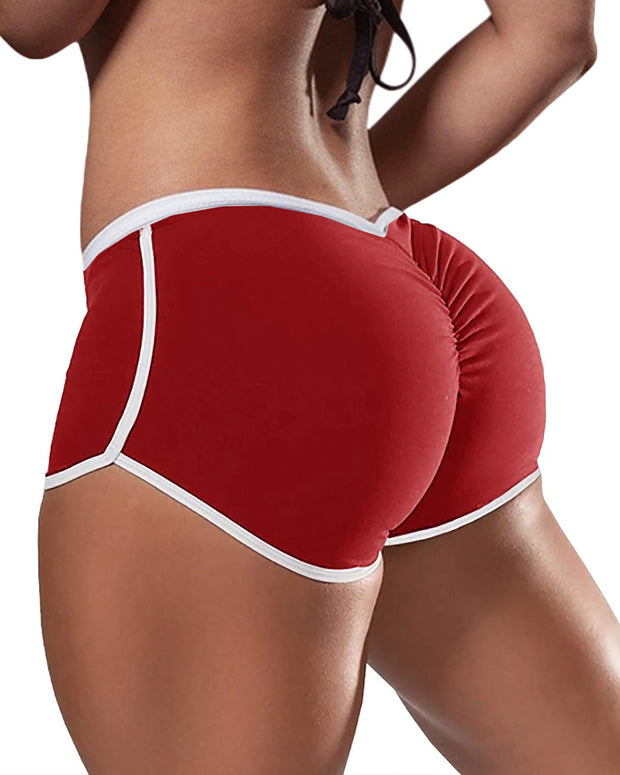 Low Waist Colorblock Ruched Yoga Shorts
