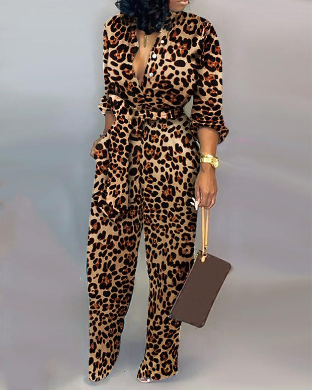Leopard Print Button Design Wide Leg Jumpsuit