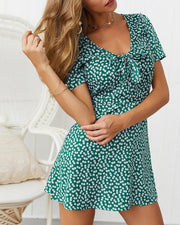 Printed V-neck short-sleeved A-line mini dress