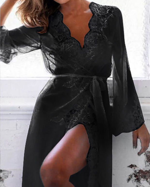 Lace Trim Tied Waist Loungewear Dress