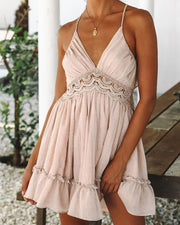 V-neck Lace Insert Backless Dress