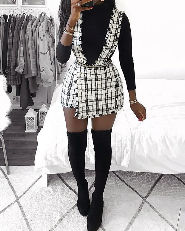 Rove Grid Buttoned Design Suspender Dress