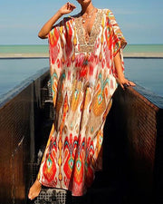 Bohemian V Neck Cape Maxi Dress