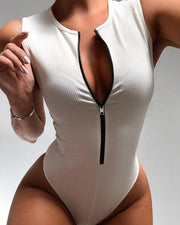 Solid Zipper Sleeveless Skinny Swimwear