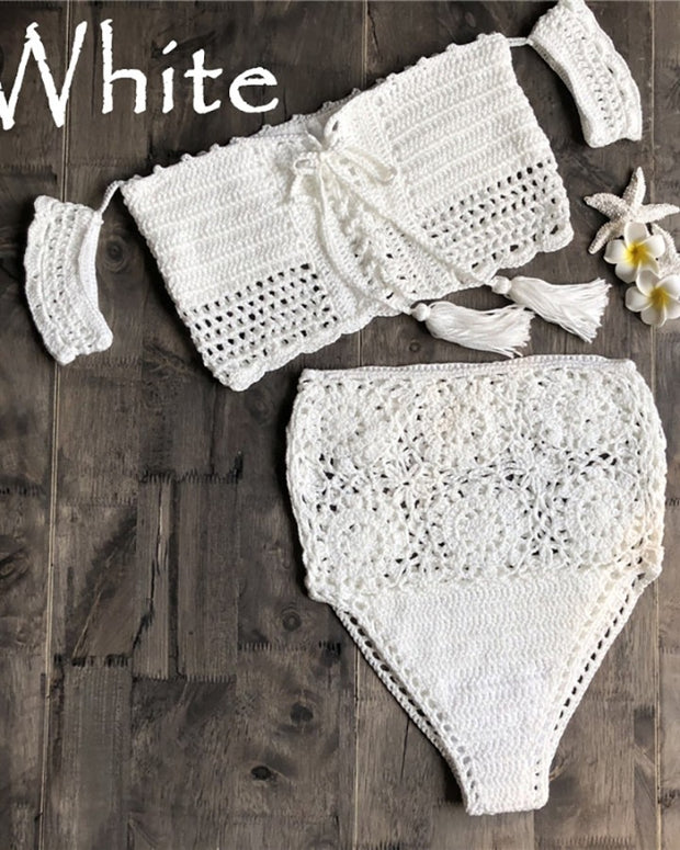 Hollow Out Knitted Bandage Bikini Set