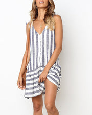 Striped V Neck Smock Dress