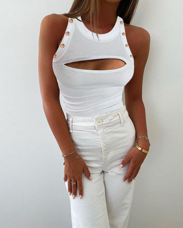 Solid Cut Out Design Round Neck Tank Top