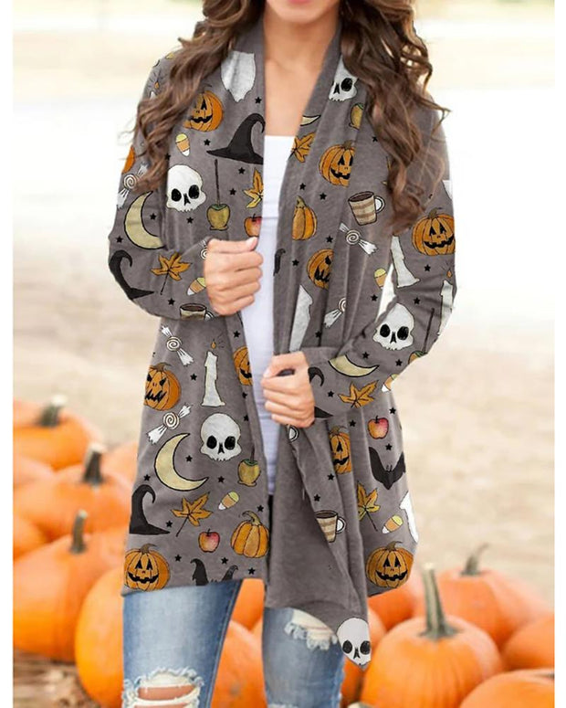 Halloween Pumpkin Mixed Print Long Sleeve Cardigan
