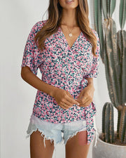Floral V Neck Surplice Top