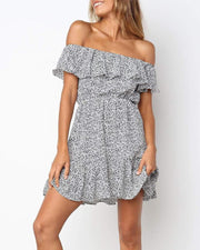 Off Shoulder Ruffle Panel Dress