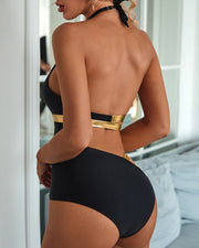 Cutout Halter Backless One Piece Swimsuit