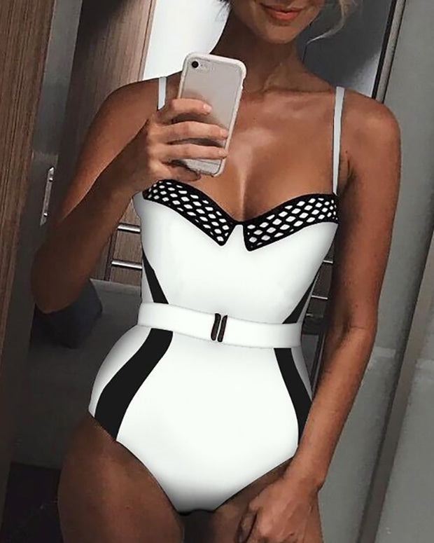 Contrast Color Fishnet Belted One-piece Swimwear