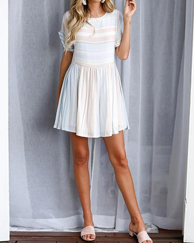 Roll-up Sleeve Striped Pleated Casual Dress