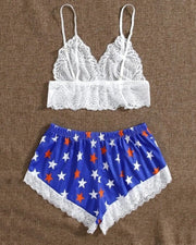 Sexy Lace Sling Cropped Top With Star Print Short Pants Pajamas Sets